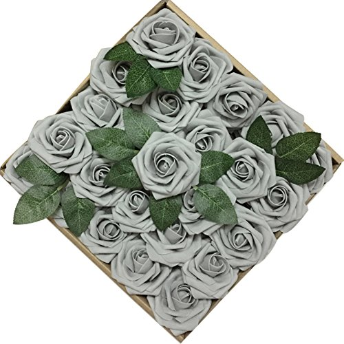 Jing-Rise 50PCS Fake Roses Real Looking Artificial Flowers For DIY Wedding Bouquets Centerpieces Baby Shower Party Home Office Shop Hotel Supermarket Decorations (Grey Centerpiece)