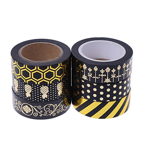 (Yangfr 1PC Gold Foil Washi Tape Adhesive Decorative Masking Adhesive Tape for DIY Crafts and Gift Wrapping,Christmas Photo)
