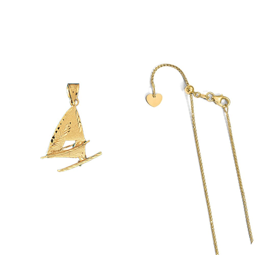 14K Yellow Gold Racing Boat Pendant on an Adjustable 14K Yellow Gold Chain Necklace