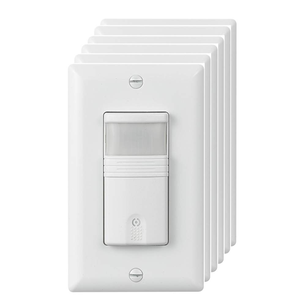 ECOELER Lighting Vacancy & Occupancy Motion Sensor Wall Switch, UL Listed, Title 24 Qualifed, 180° Field View, Neutral Wire Required, White,6 Pack by ECOELER (Image #1)