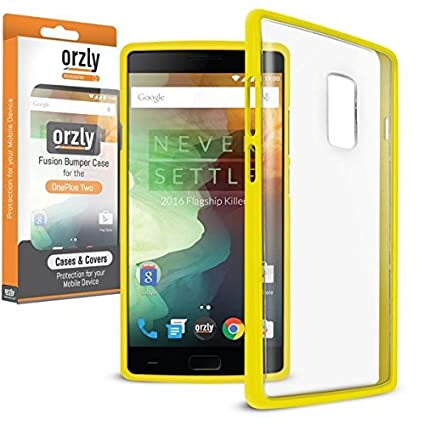 quality design 9836a d1612 Orzly FUSION Bumper Case Cover Shell (V2.0) for Oneplus 2 / OnePlus TWO -  Protective Hard Cover with Impact Absorbing YELLOW Rubber Rim and Clear  Back ...