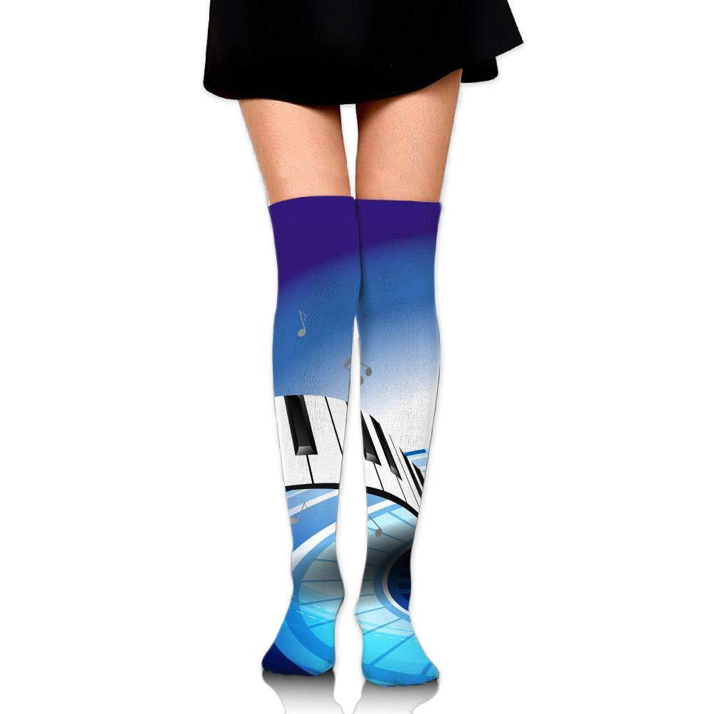 High Elasticity Girl Cotton Knee High Socks Uniform Piano Keyboard Music Notation Women Tube Socks