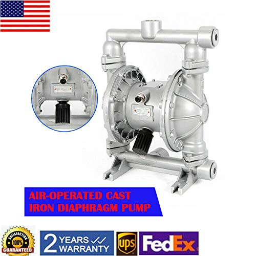 Air-Operated Double Diaphragm Pump, QBK-25L Heavy Duty Alloy Pneumatic Membrane Pump - 24 GPM, 1in. Inlet & Outlet, Max 80 ℉ 115PSI for Diesel, Kerosene & Oil Chemical Industrial Use