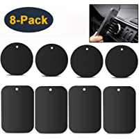 HEYUS [8 Pack] Mount Metal Plate for Phone Magnet, Metal Disc with Adhesive for Magnetic Phone Car Mount Holder 4 Rectangle and 4 Round Black