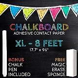 XL Black Chalkboard Contact Paper - 8 FEET (17.7'W x 96'L) Extra Large Chalk Board Paper Roll Peel & Stick - Removable Self Adhesive Wallpaper Blackboard Wall Decal Sticker - Free Chalk Pen & Eraser