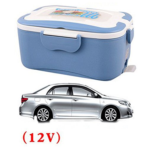COFFLED Electric Heating Bento Lunch Box,12V In-vehicle BPA-Free Plastic Food Storage Container for Adults&Kids,Super easy-to-carry Portable Meal Heater with Stainless Steel Tank(Blue color)