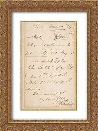 Sir Edwin Henry Landseer - 18x24 Gold Ornate Frame and Double Matted Museum Art Print - Letter
