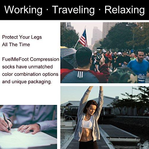 7 Pairs Compression Socks Women & Men -Best Medical,Nursing,Travel & Flight Socks-Running & Fitness-15-20mmHg (Large/X-Large, Assorted 6)