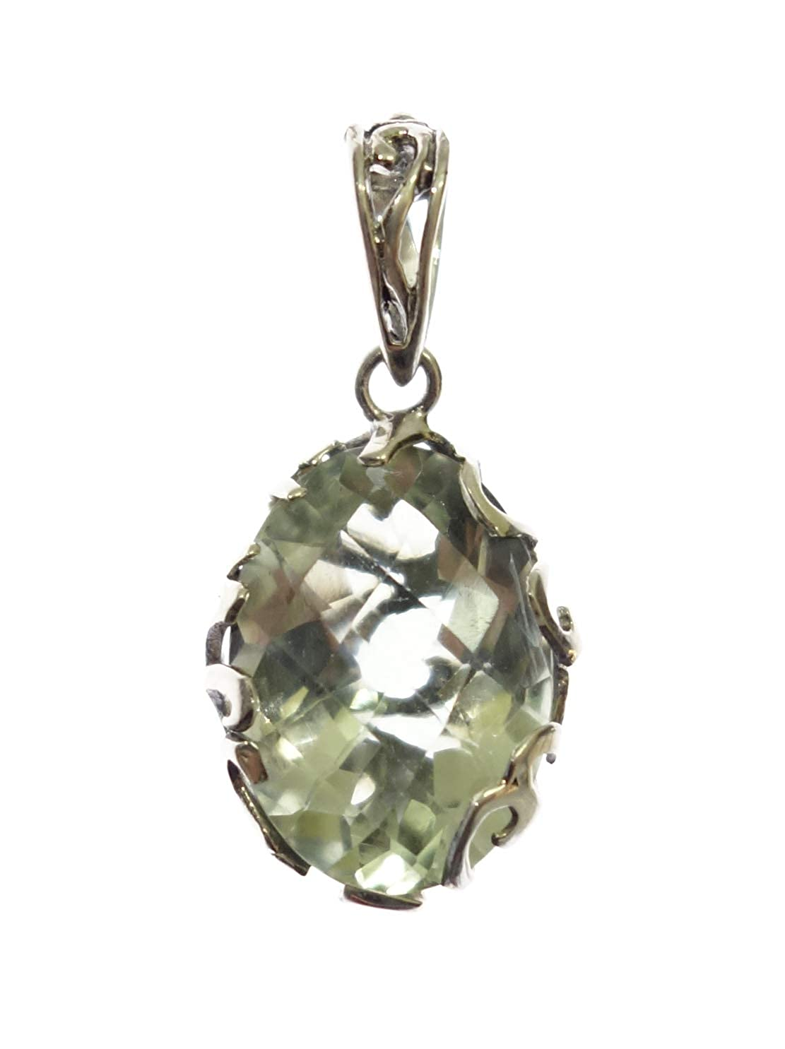 Authentic Balinese 925 Sterling Silver Green Amethyst Gemstone Pendant for Women /& Girls Modern Filigree Fashion Ethnic Reversible Amulet Gypsy Tribal Boho Style Handmade Jewelry Pendant