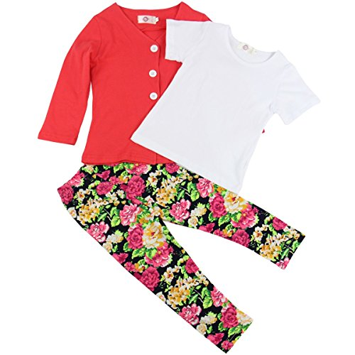 Jastore 3Pcs Baby Girls Flower Clothing Sets Coat+Shirt+Floral Pants