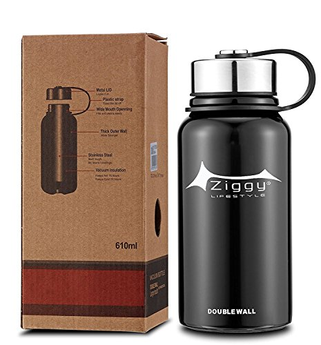 Wide Mouth Vacuum Insulated Stainless Steel Water Bottle With Leak Proof Cap and Built-in Filter | Best Double Walled Travel Coffee Mug for Outdoor Sports Camping,Keeps Drink Hot & Cold, 600ML/21 OZ (Vacuum Bottle 600)