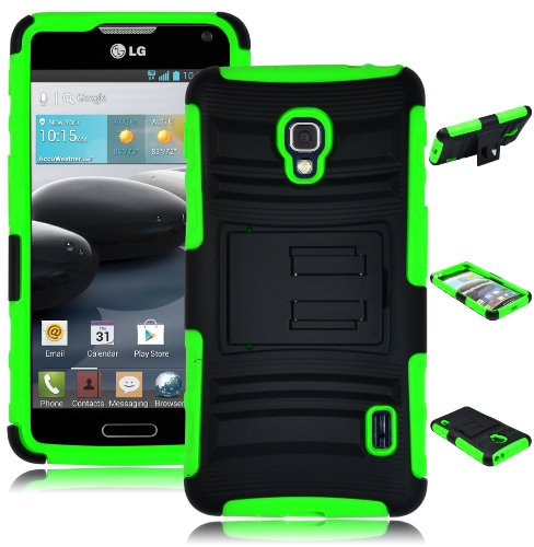 Bastex-Heavy-Duty-Beltclip-Holster-Rugged-Hybrid-Case-for-LG-Optimus-F6-D500-Green-Silicone-Black-Hard-Shell-with-Kickstand