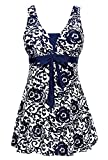 Ecupper Women's One-Piece Shaping Body Swimsuit Floral Plus Size Bathing Suit Navy XXL
