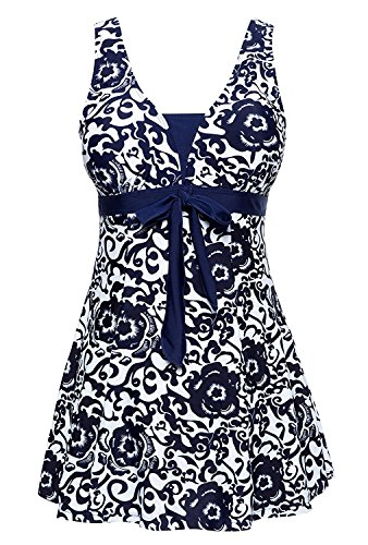 (One Piece Floral Plus Size Bathing Suit For Women Navy 3XL)