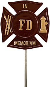 Montague Metal Products Fireman Maltese Cross Grave Marker and Flag Holder, Brick Red with Gold