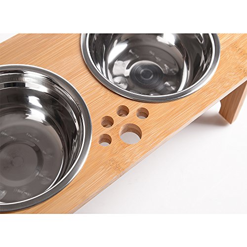 FOREYY-Raised-Pet-bowls-for-Cats-and-Small-Dogs-Bamboo-Elevated-Dog-Cat-Food-and-Water-Bowls-Stand-Feeder-with-2-Stainless-Steel-Bowls-and-Anti-Slip-Feet-Patent-Pending