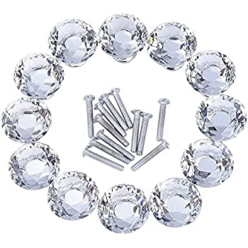 outus 12 pieces diamond shape crystal glass cabinet knobs for cupboard and drawer clear