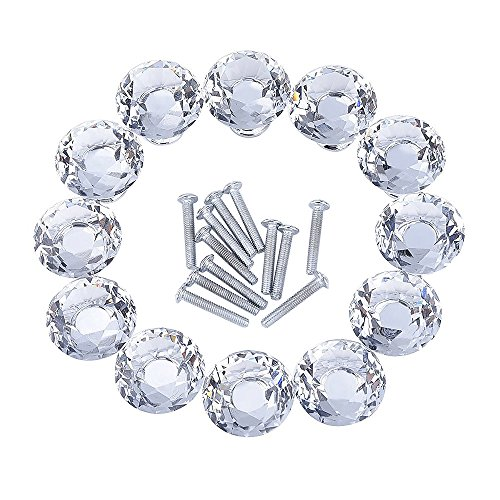 Outus 12 Pieces Diamond Shape Crystal Glass Cabinet Knobs for Cupboard and Drawer, Clear