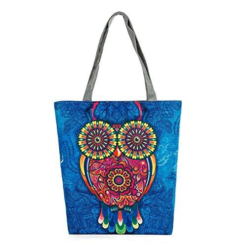 FZHLY Owl Print Bag Lady Tela Dipinto A Mano