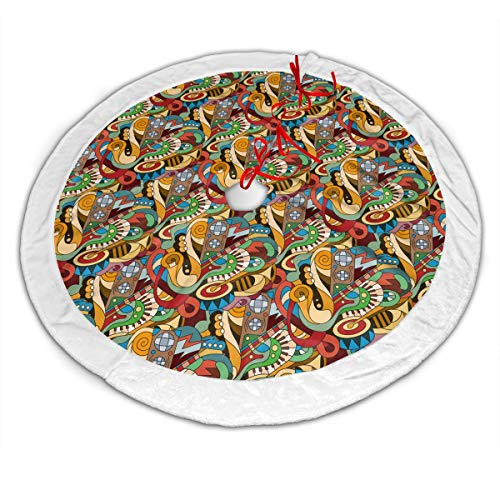 Baby Rabbit Musical Instruments Christmas Xmas Tree Skirt 30 Inch 36 Inch 48 Inch Holiday Printed Christmas Decorations…