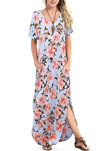 Arolina Women V-Neck Floral Print Boho Long Maxi Dresses with Pockets