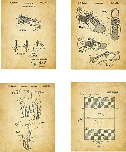 Soccer Patent Wall Art Prints - set of Four (8x10) Unframed - wall art decor for soccer fans