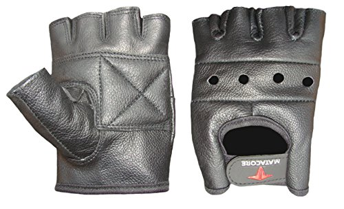 MATACORE NEW BLACK COWHIDE LEATHER CYCLING WEIGHT LIFTING/GYM MOTORCYCLE RIDING FINGERLESS GLOVES ALL SIZES (XXX-Large)