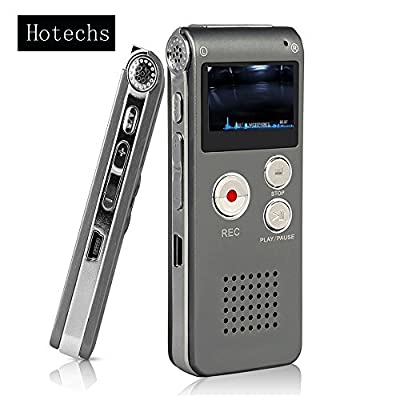 Digital Audio Voice Recorder / Dictaphone / MP3 Player -8GB / 650HR / Multifunctional Rechargeable Dictaphone Player with Built-In Speaker by Hotechs.