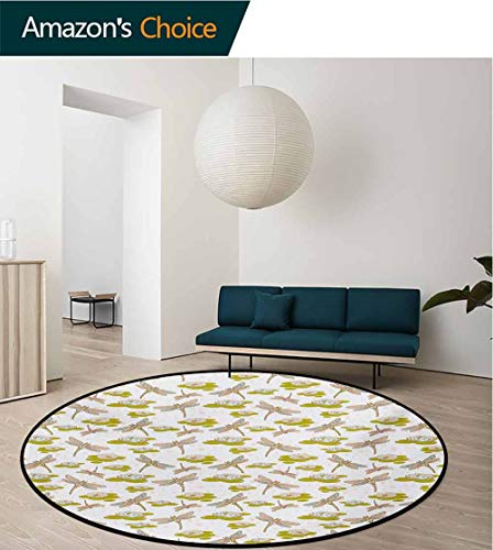 Dragonfly Modern Machine Washable Round Bath Mat,River Side Flowers Loddon Lilies Leaves with Mosaic Pattern Like Wings Image Non-Slip Living Room Soft Floor Mat,Diameter-47 Inch