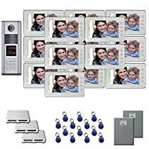 Multitenant Video Intercom 14 7 color monitor door camera key fob