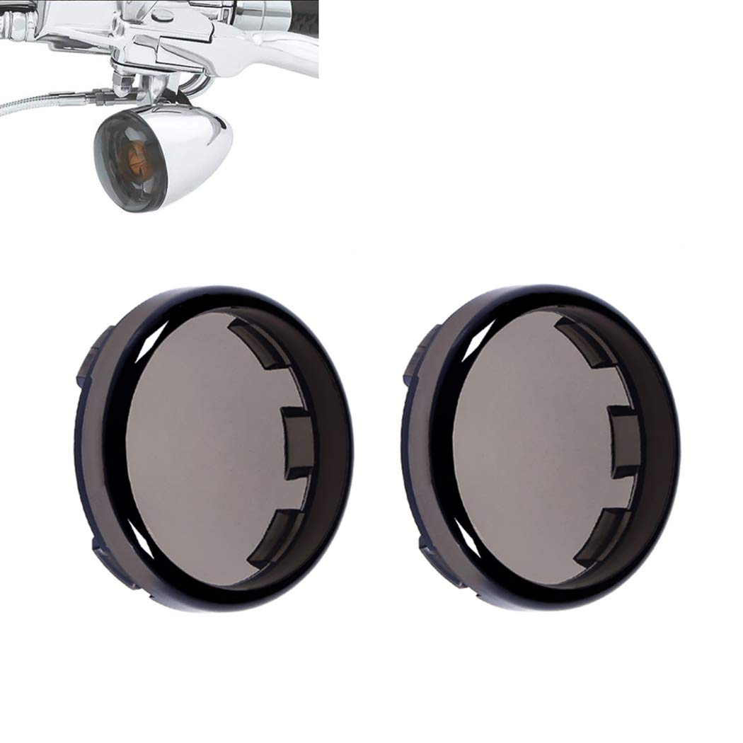 Benlari Smoke Bullet Turn Signal Light Lens Covers Compatible for Harley Davidson Touring Dyna Softail Sportster Electra Street Road Glide Road King Fatboy Heritage 1986-2019