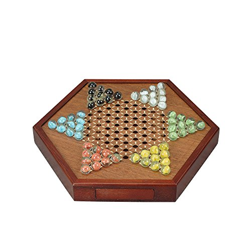 zzxswc All Natural Wood Chinese Checkers with Storage Drawer and Glass Marbles Checkers Board Games