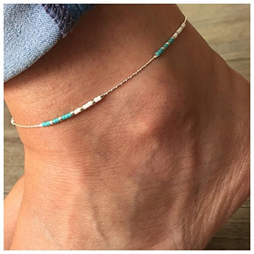 Aukmla Bead Anklet Beach Ankle Bracelet Turquoise Foot Chain Barefoot Sandal Adjustable for Women and Girls - Turquoise Ankle Bracelet Anklet