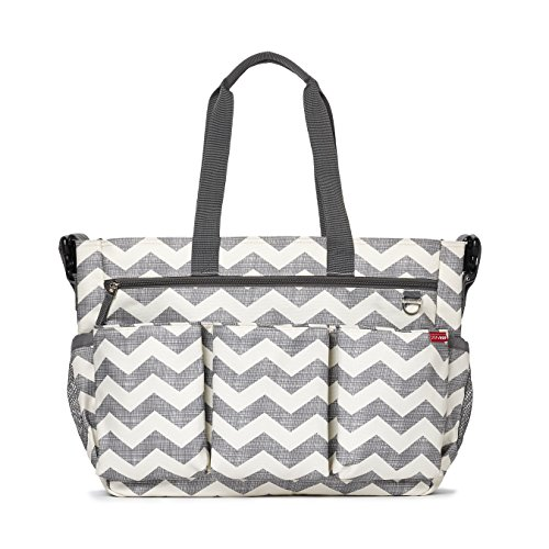 Skip Hop Duo Double Signature Carry All Travel Diaper Bag Tote with Multipockets, One Size, Chevron For Sale