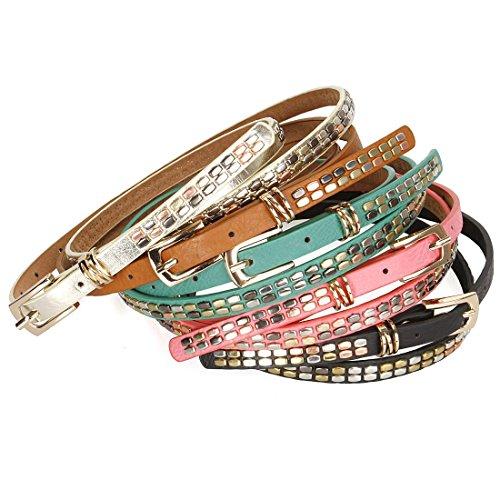 BMC Metal Accents Rivets Faux Leather Womens Fashion Skinny Belts - 5 Color Set
