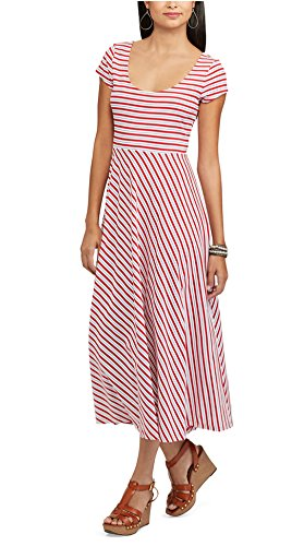 Chaps Women's Striped Midi Dress, Red Multi (Chaps Womens Dress)
