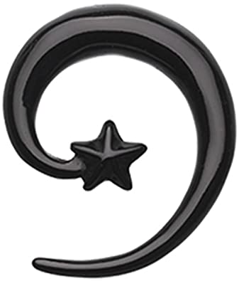 Sold as a Pair Black Falling Star Spiral Acrylic Ear Gauge Spiral Hanging Taper