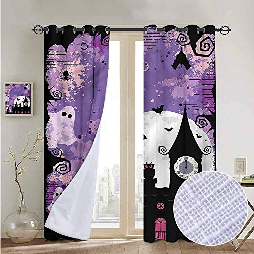 NUOMANAN Decorative Curtains for Living Room Vintage Halloween,Towers and Bats,Blackout Draperies for Bedroom 100