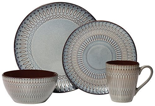 Gourmet Basics by Mikasa Broadway 16 Piece Dinnerware Set (Set of 4), Assorted by Gourmet Basics by Mikasa