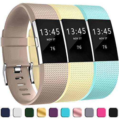 GEAK Replacement Bands for Fitbit Charge 2, Adjustable Classic Wristbands for Fitbit Charge 2, Small Champagne Marine Green Milk Yellow