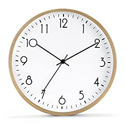 12 Large Wall Clocks Silent Non Ticking Wooden Decorative Modern Accurate Sweep Movement Clocks for Home Kitchen Office
