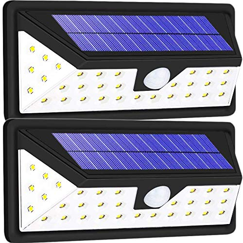 EOYIZW Solar Wall Lights Outdoor, Waterproof Wall Mount Solar Lights, 37 LED Motion Sensor Security Lights for Driveway Garden Step Stair Fence Deck 2 Pack