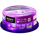 SONY  ビデオ用BD-RE 書換型 片面1層25GB 2倍速 ホワイトプリンタブル 25枚スピンドル 25BNE1VGPP2