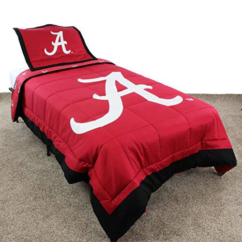 (MISC 3 Piece Red White NCAA Alabama Crimson Tide Comforter King Set American Football Theme Reversible Bedding Sports Patterned Team Logo Collegiate Athletic Team Fan Lightweight Soft & Comfy,)