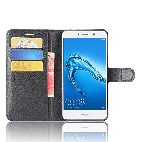 Funda Huawei Enjoy 7 Plus, Funda de Cuero Huawei Enjoy 7 Plus, Lifetrut Cartera de Cuero de La PU Funda de Protección con Titular de La Tarjeta y Ranura de Efectivo para Huawei Enjoy 7 Plus [Rot] E201-Schwarz