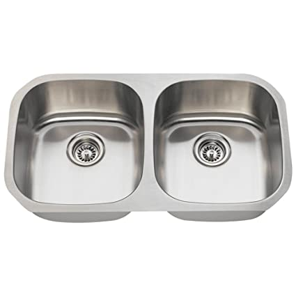 502 16-Gauge Undermount Equal Double Bowl Stainless Steel Kitchen ...