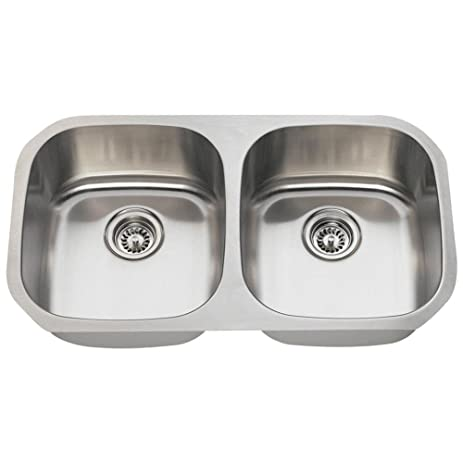 502 16 gauge undermount equal double bowl stainless steel kitchen sink 502 16 gauge undermount equal double bowl stainless steel kitchen      rh   amazon com