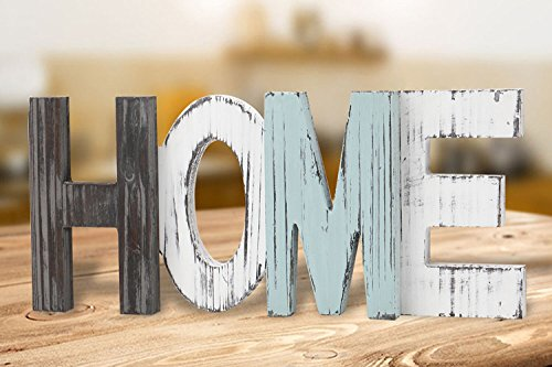 Rustic Wood Home Decorative Sign, Standing Wooden Cutout Letters for Home, House, Living Room and Wall Decor by Veronica