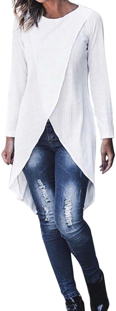 PAOLIAN Camisetas de Mujer Manga Largas Otoño 2018 Moda Blusa Largo Cuello Redondo Ancho Señora Fiesta Blancas Casual Ropa de Punto para Mujer Camisetas Split Negras Asimetricas: Amazon.es: Ropa y accesorios