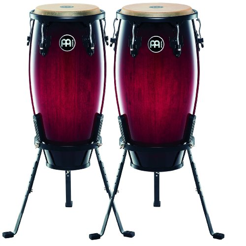 Meinl Percussion HC512WRB Headliner Series 11-Inch and 12-Inch Conga Set With Basket Stands, Wine Red Burst (Music Conga Stand)